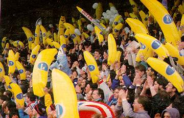 City fans with the bananas